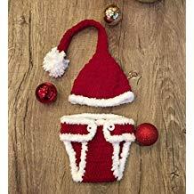 Idea Regalo - Santa, Newborn Baby Girl/Boy Crochet Knit Costume Photo Photography Prop Hats Outfits