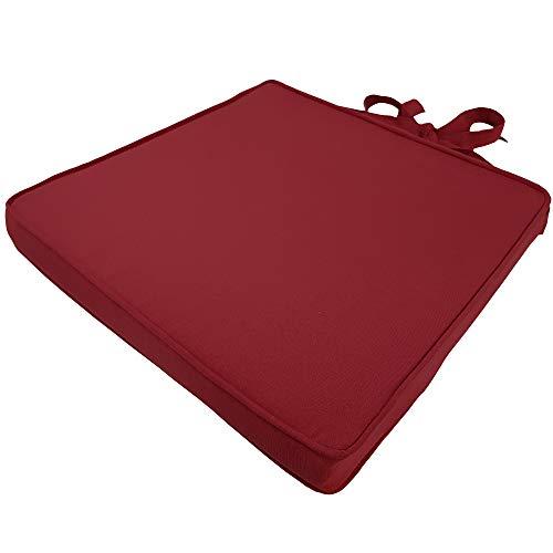 SunDeluxe Stuhlkissen Premium 43x42 cm Rot - hochwertiges Sitzkissen für Ihre Rattan Stühle - mit abnehmbarem Bezug und Befestigungsbändern -