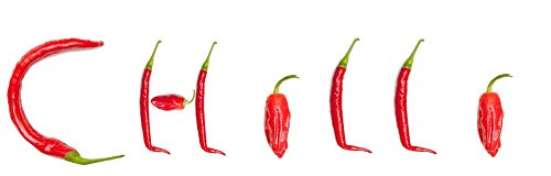 John Short / Design Pics – The Word 'chilli' Spelled With Red Jalapeno Peppers Photo Print (91,44 x 30,48 cm)