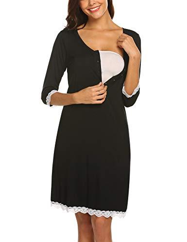 MAXMODA Damen Umstandskleid Stillnachthemd Sleepshirt Umstands-Nachthemd