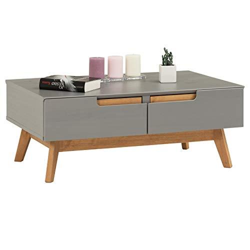 IDIMEX Table Basse Tibor Style scandinave Design Vintage Nordique Table de Salon rectangulaire avec 2 tiroirs et 2 niches, en pin Massif lasuré Gris