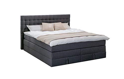 King Boxspringbett 200x200 cm mit Bettkasten 7-Zonen Taschenfederkernmatratze Visco-Topper H3 Anthrazit Hotelbett Doppelbett Polsterbett
