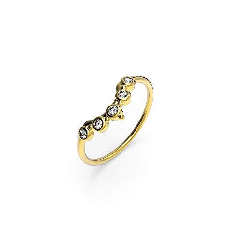 prettique Ring Stella mit gefassten Zirkonia Steinen (gold)