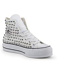 91a6dbf7063326 21 Shoes Converse Platform all Star Borchiate (Artigianali) con Borchie  Cono Argento