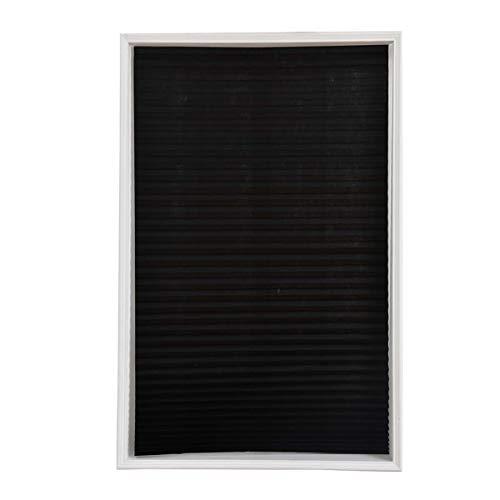 Vosarea Cortinas de Plisadas con Soporte Adhesiva Opacas Negra para Ventana o Puerta de Baño Cocina Balcón (60x150cm)