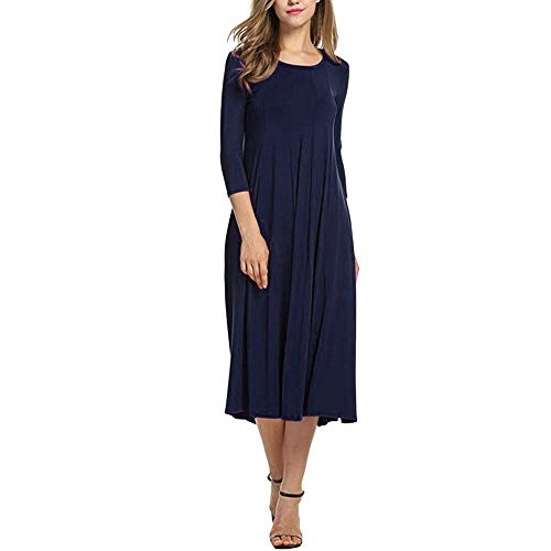 Damen Kleider Lang Dasongff Frauen Elegant O Neck Midikleid Basic Kleid Brautjungfernkleid Halbe Hülse Abendkleider Ballkleid Partykleid Swing Dress T-Shirtkleid