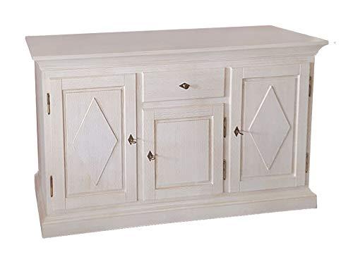 casamia Anrichte Sideboard Grande Holzfront, 3 Türen und 1 Schublade, Pinie massiv lipizano Farbe Pinie lipizano