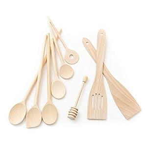 Tuuli Kitchen Küchenhelfer Set Holz Buche Antibakteriell (6X Kochlöffel, 2X Pfannenwender, Honiglöffel)