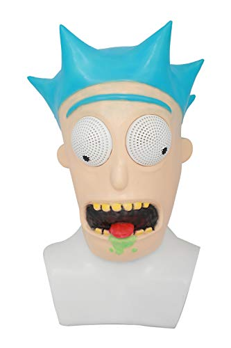 Wellgift Halloween Rick Maske Helm Cosplay Kostüm TV Erwachsene Latex Vollkopf Maske Costume Fancy Dress Merchandise Zubehör