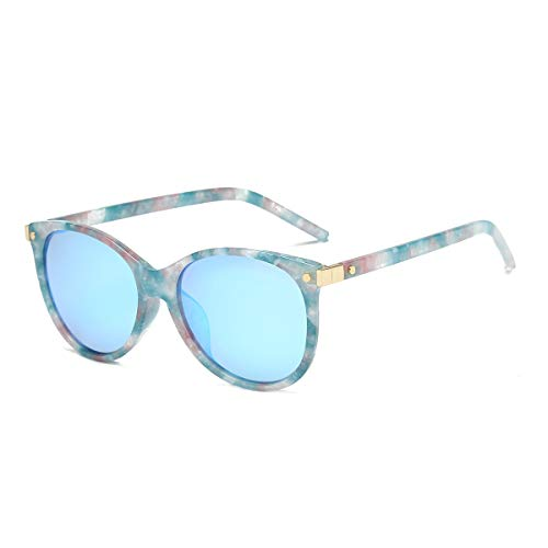 CHEREEKI Damen Mode Sonnenbrillen Oval Klassisch Brille Verspiegelt Sonnenbrille für Frauen UV400 Schutz (Mehrfarbig Blau)