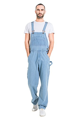 Uskees Basic Denim Dungarees - Pale Wash Men's Value Overalls Relaxed Fit MENSBASICPALE-38-XL