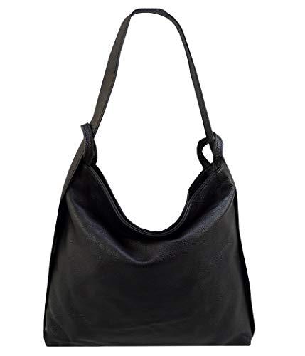 Freyday 2in1 Damen Handtasche Rucksack Designer Luxus Henkeltasche aus 100{fd0093e7d01045d5d75db9495784fc1286067619967a9a1d01265a0492e6bf52} Echtleder (Schwarz)