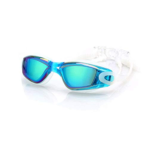 Men and women high-definition plating large frame, goggles conjoined earplugs waterproof anti-fog one goggles - sky blue