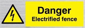 """Viking Schilder we77-l15-s """"Gefahr elektrisierte Zaun"""" Sign Starre, silber Kunststoff, 50mm H x 150mm W"""