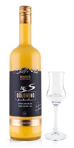 Dolomino - der Bombardino von Dolomiti 16% vol. mit GRATIS Schnapskelch│ cremiger Eier-Likör mit Rum verfeinert│ 1 x 1 Liter plus gratis Schnapskelch