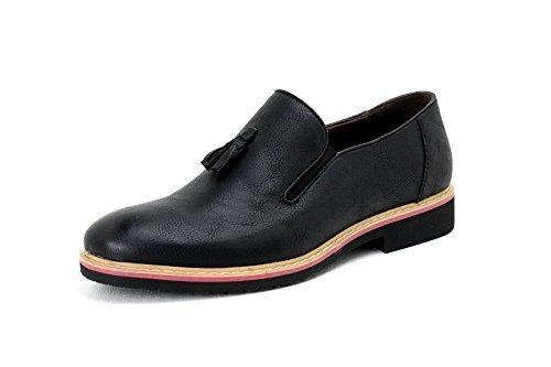 Pour Hommes À Enfiler Élégant Gland Chaussures Mocassins Décontracté Noir