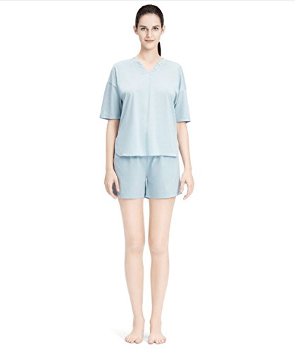 0 Touch Sommer Damen Baumwoll Haus Kleidung Kurzarmshirts Haus Service Anzug Blau