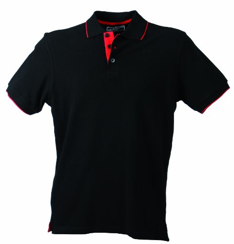 James & Nicholson Herren Poloshirt Polo Campus schwarz (black/red) XX-Large