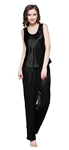 LILYSILK Set pigiama da Donna lunga Canotta di 22 momme Seta Nero