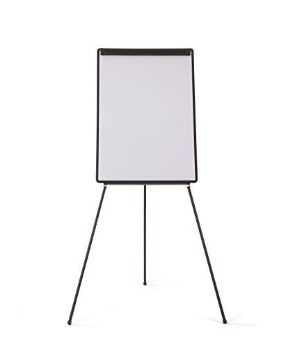 Bi-Office Pizarra Magnética con Caballete de Trípode Basic, 70 x 100 cm, Rotafolios con Marco Negro, con Bandeja y Clip Ajustable para Bloques
