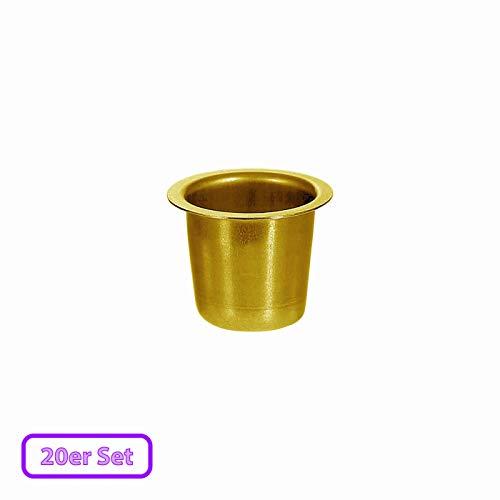 Kerzenhalter konisch Echt-Messing 22mm - perfekte Tülle für Spitzkerzen, Größe:Tülle 20er Set