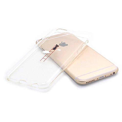 JIAXIUFEN Neue Modelle TPU Silikon Schutz Handy Hülle Case Tasche Etui Bumper für Apple iPhone 6 6S - Amüsant Wunderlich Design Giraffe eating Apple Color12
