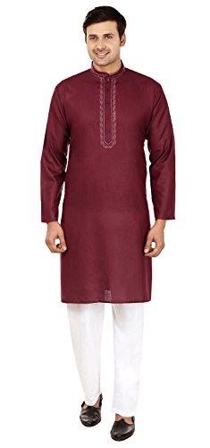 Seide Baumwolle Bestickt Herren Kurta Pyjama Indien (Kastanienbraun, L) -
