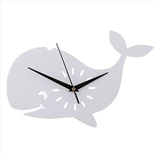 Baleine Horloge murale Chambre d'enfant Chambre Horloge silencieuse Belle Famille Décoration Boutique