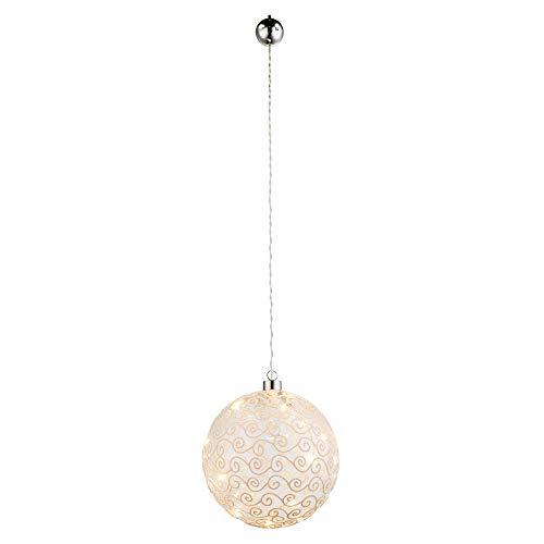 LED Deko Hänge Decken Leuchte Glas Kugel Wohn Schlaf Zimmer Ornament Pendel Lampe weiß Globo 23232 (Kugel Glas Ornamente)