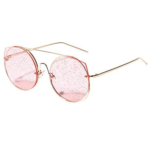 TTLOVE Frauen Weinlese Augen Sonnenbrille Retro Eyewear Art Strahlenschutz Unisex Rund Metall Brillen Travel Vintage Style Stil Design (Mehrfarbig1)
