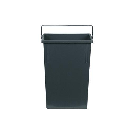Hailo 1082479 Inneneimer mit Henkel verchromt Abfallsammler, Plastik, dunkelgrau, 7 L, Kunststoff, 22,6 x 11,5 x 34 cm