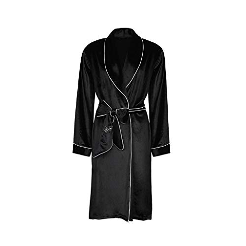GJY Pyjamas Schwarze Robe Samt Robe Spitze langärmelige Sexy Pyjamas Frauen Frühling und Herbst Home Service Damen Bademantel Lose Komfort (Color : Black, Size : L) -
