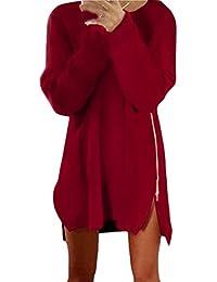 Lannister Fashion Vestiti Donna Eleganti Vestito in Maglia Ragazza Corti  Sciolto Maglioni Manica Lunga Autunno Casual 114a4a9ffe0