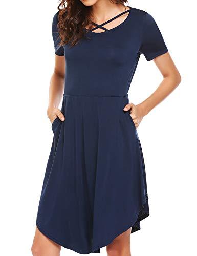SE MIU Damen-Tunika, kurzärmelig, mit Tasche, Swing Medium Champlain Color