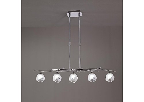 Suspension téléscopique design BALI CROMO 5L - ampoule G9 osram - mantra