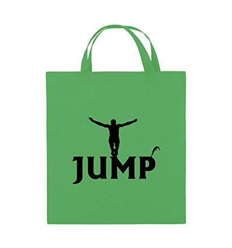 Comedy Bags - JUMP - FIGUR - Jutebeutel - kurze Henkel - 38x42cm - Farbe: Schwarz / Silber Grün / Schwarz