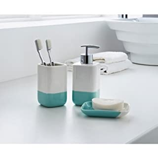 3 Piece Ceramic White Colour Dipped Bathroom Accessory Set - Soap Dish, Soap Dispenser, Tumbler/Toothbrush Holder(Aqua)