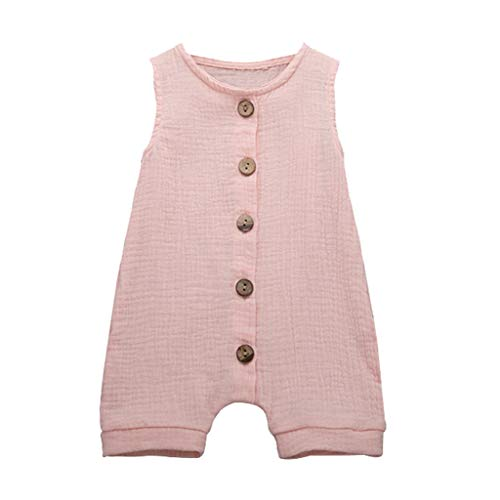 DressLksnf Baby Mädchen Overall Mädchen Ärmellos Volltonfarbe Jumpsuit Baby Rüschen Weste Strampler Sommer Overall