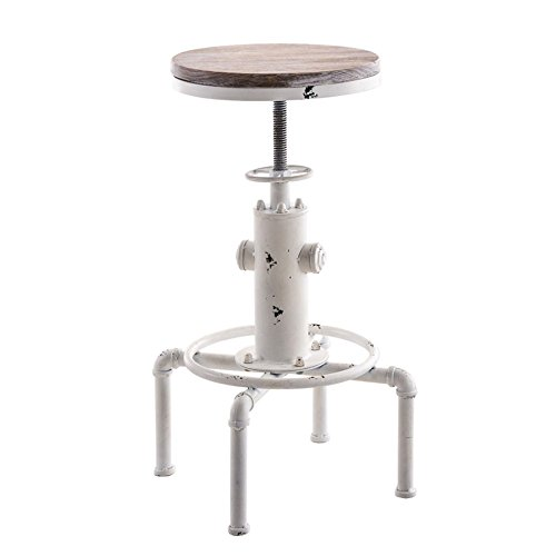 topower Taburete de Bar Industrial diseño de tubería de Agua de Madera Maciza, Estilo Vintage