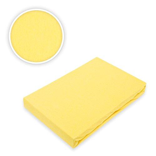 Exklusiv-Heimtextil Brand Jersey Fitted Sheet Flat Sheet Elasticated Waistband, 100% Cotton, Yellow, 140-160 x 200 cm