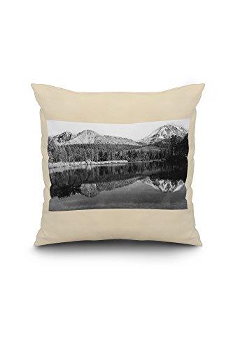 Manzanita Lake, CA Chaos Crags and Mt. Lassen Photograph (18x18 Spun Polyester Pillow Case, White Border)