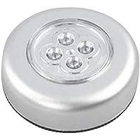 LED de la Noche del Tacto 4 Control de la lámpara Redonda Ligera Debajo del gabinete Armario Palo de Empujar en la lámpara de la Cocina del hogar Dormitorio Automóvil Uso