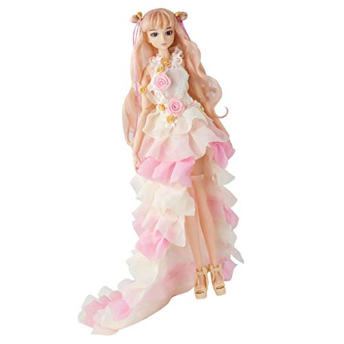 Baoblaze Moveable Doll Girl Doll Articulated Figure Female Action with Scale Princess Clothes 1 / 6 - Pink