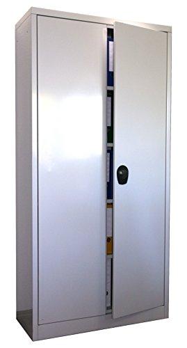 Stahlschrank 195x90x40 cm, 4 Böden, Drehverschluss, (RAL7035) lichtgrau (Ordnerschrank Büroschrank Werkzeugschrank Metallschrank)
