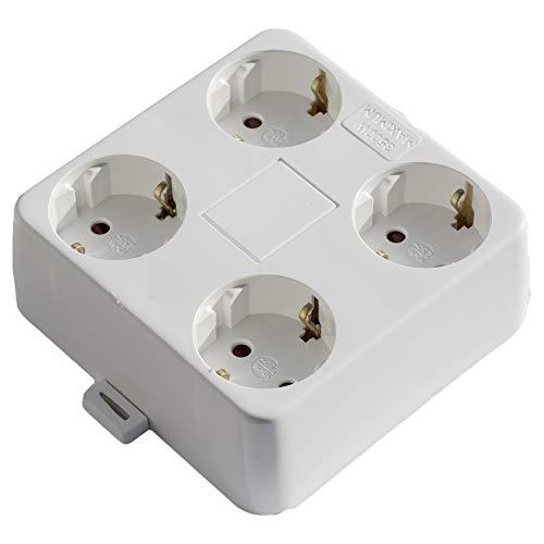 AUFPUTZ STECKDOSE 4-fach   Mehrfachsteckdose Aufputz ohne Zuleitung   für den Innenbereich   Farbe: weiß