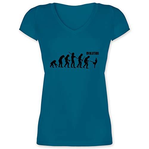 Evolution - Modern Dance Evolution - M - Türkis - XO1525 - Damen T-Shirt mit V-Ausschnitt