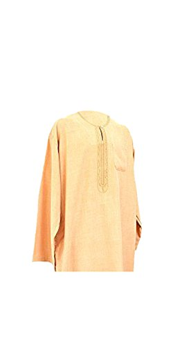 2piezas árabe camiseta vestido Islam Thobe pantalones de del norte de África Libia afgano largo beige marrón M