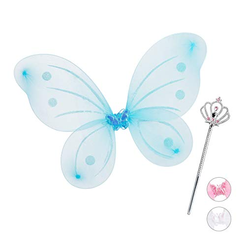 Relaxdays Feenflügel mit Zauberstab, Fee Kostüm Kinder, Flügel & Zepter, Glitzer, Mädchen, Feenset, blau (Flügel Glitzer Kostüm)