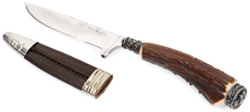 Trachtenmesser für die Lederhose, Jagdmesser, Nicker, Echtes Feitl, Enzian-Motiv, 9cm Edelstahlklinge, Rostfrei