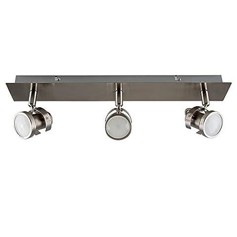 MiniSun 3 Spot Plafonnier ou Applique. Rampe, Rail, Réglette, Moderne Aux Trois Têtes Réglables & Orientables. En Chrome Poli